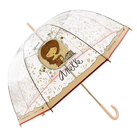 Anekke Paraguas Largo Mujer Transparente 28870P4 Anti Viento Talla: U Color: Rosa