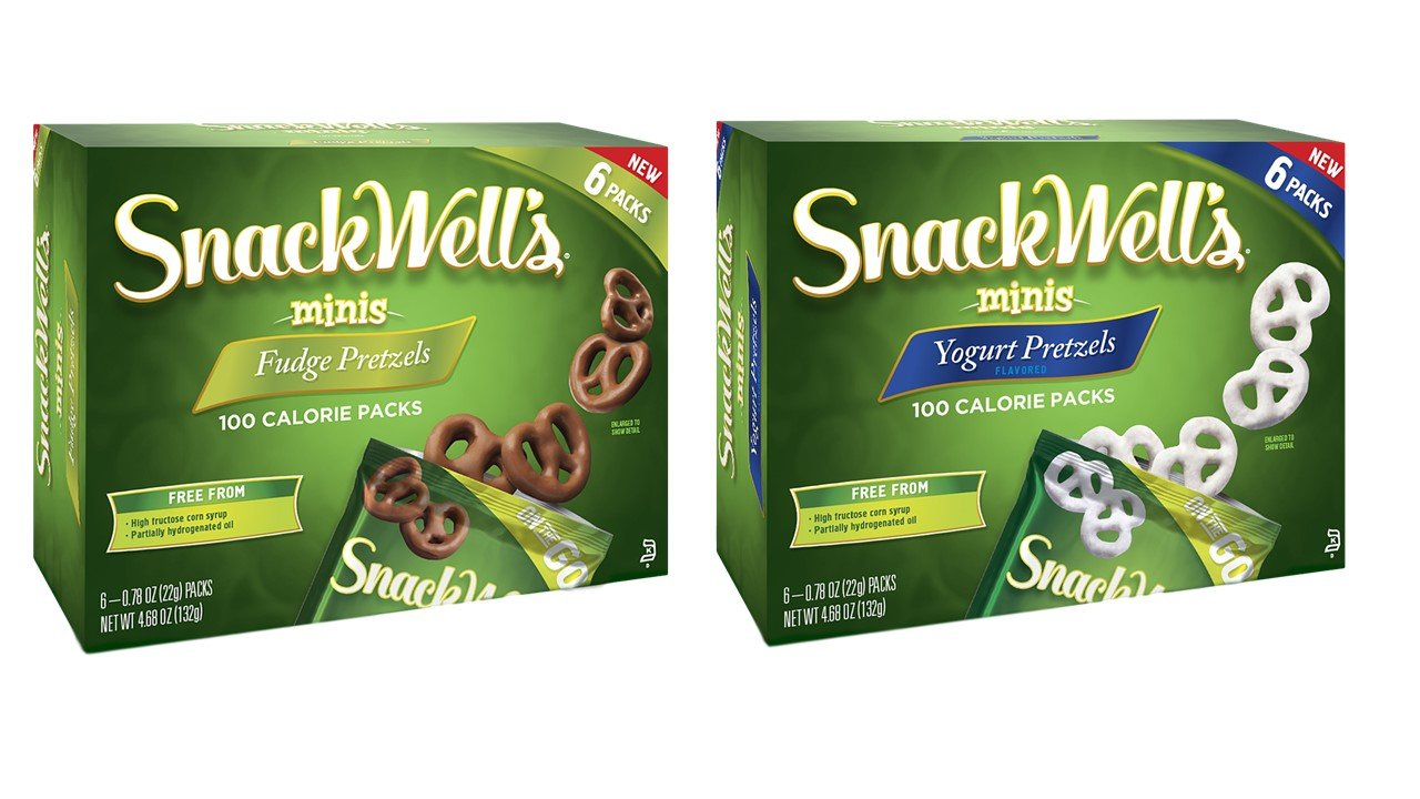 Snackwell's Dipped Pretzel Minis 100 Calorie Packs 2 Flavor Variety Bundle, (1) each: Fudge and Yogurt (4.68 Ounces)