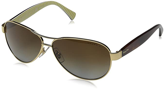 28c466ab1ed Ralph by Ralph Lauren Women s 0ra4096 Polarized Aviator Sunglasses Gold  59.0 mm