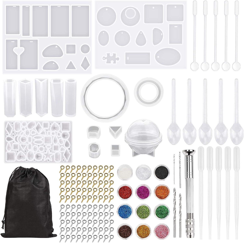 Redmoo 159 Piezas Kit de molde silicona joyeria epoxi,Resina Moldes para hacer artesanías de joyería DIY, pendientes, decoración, soporte de joyería, incluye accesorios de herramientas