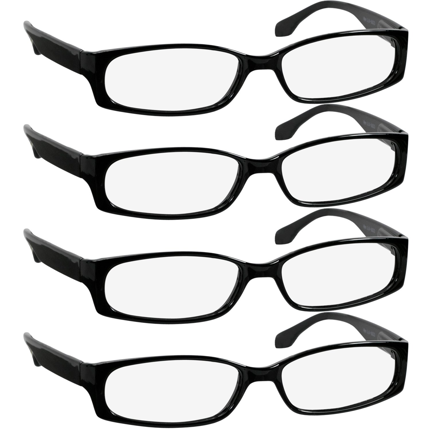 Reading Glasses 1.0 Best 4 Pack Black Readers for Men and Women Always Have a Stylish Look and Crystal Clear Vision When You Need It! Comfort Spring Arms & Dura-Tight Screws