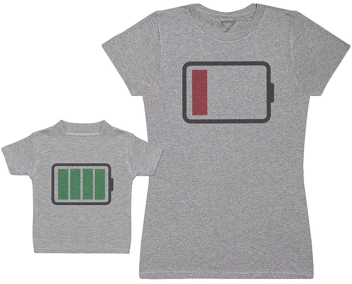 Full and Low Battery Damen T-Shirt /& Baby T Shirt Passende Mutter Baby Geschenk Set