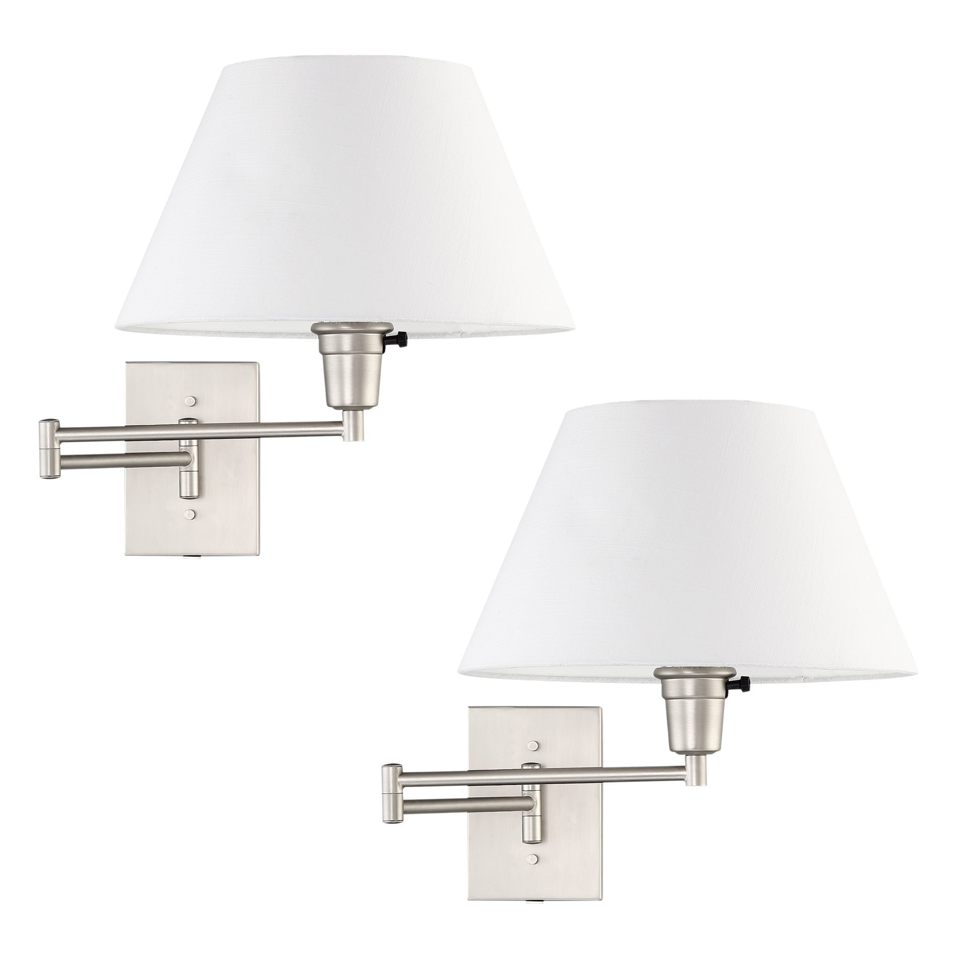 Revel Cambridge 13'' Swing Arm Wall Lamp - Plug In/Wall Mount + White Fabric Shade, 150W 3-Way, Satin Nickel Finish, 2-Pack by Revel