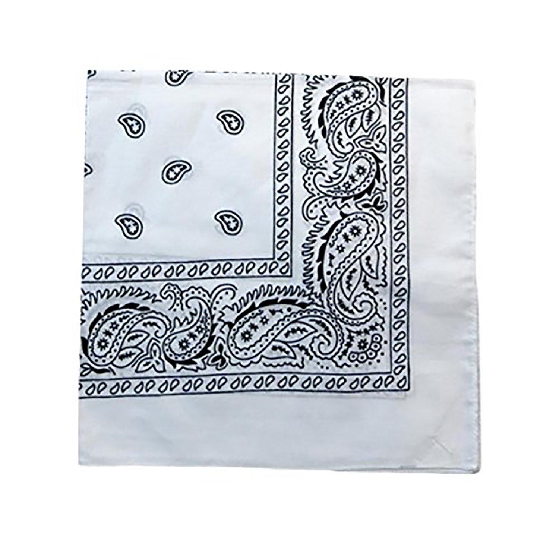 Pack of 120 Mechaly Paisley 100% Cotton Double Sided Bandanas - Bulk Wholesale (White)