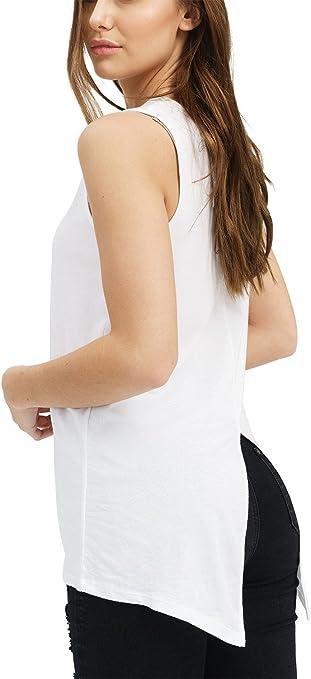 trueprodigy Casual Mujer Marca Camiseta De Tirantes Basico Ropa Retro Vintage Rock Vestir Moda Cuello Redondo Sin Manga Slim Fit Designer Fashion Top