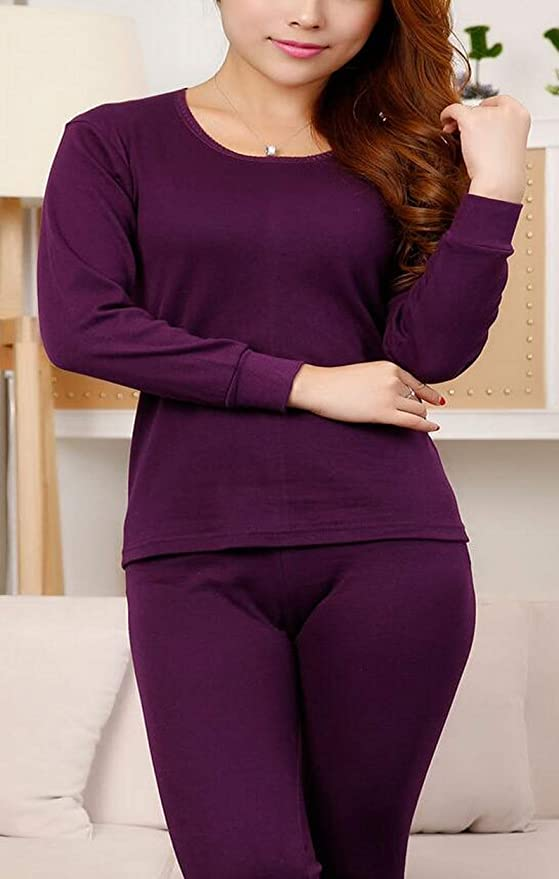 Foucome FoucomeWomens 2pc Cotton Warm Thermal Underwear Set Loong Sleeves Top Bottom Underwear Set Pajamas