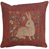 "Woven French tapestry, Sitting Rabbit in Red. 14 x 14"" fantasy art, Lady and the Unicorn series. Designer decorative throw pillows. Hand finished gorgeous cushion covers for couch and home."