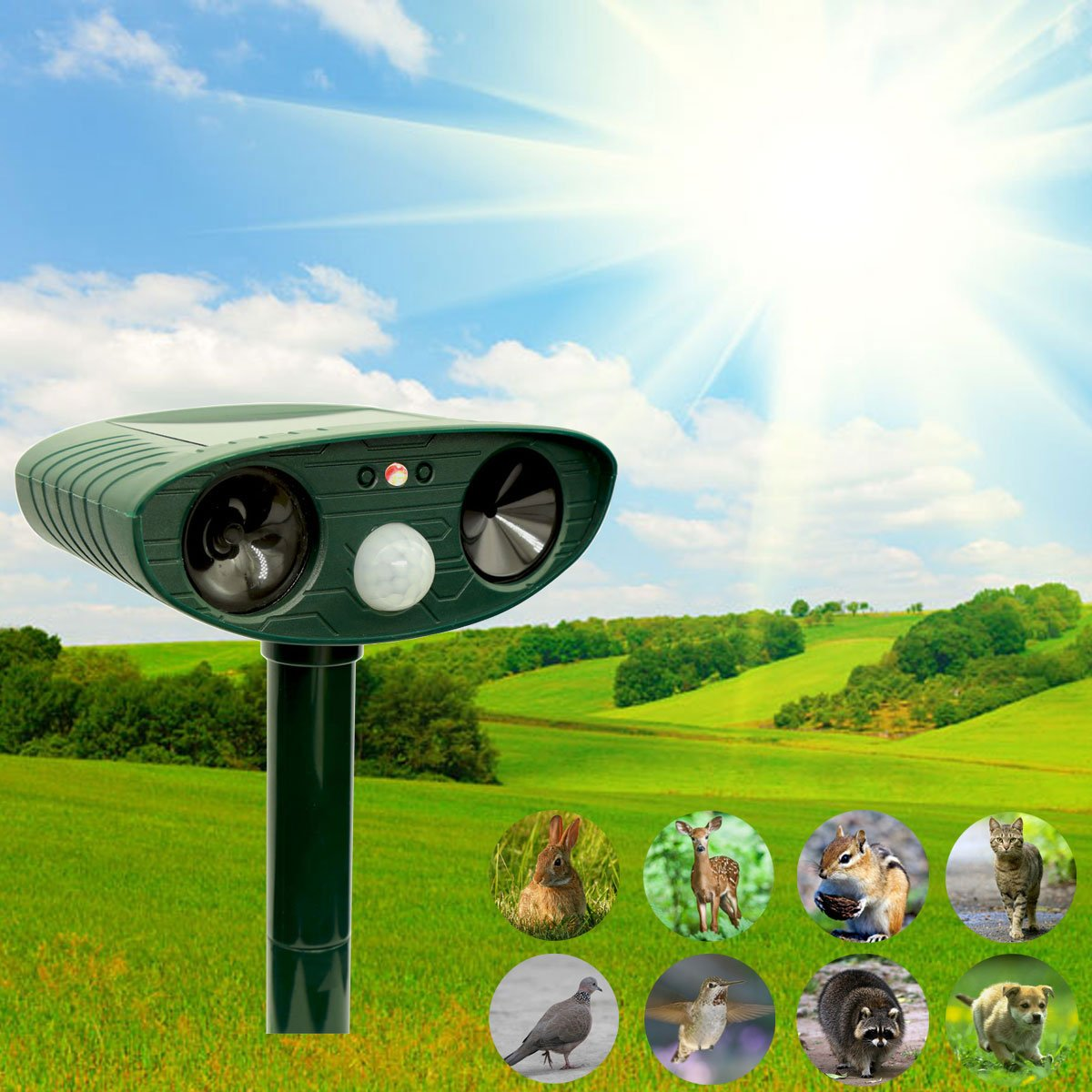 Zovenchi Ultrasonic Animal Repeller Solar Powered Repellent With Scarer Motion Sensor And Red Flashing Lights Outdoor Waterproof Farm Garden Yard
