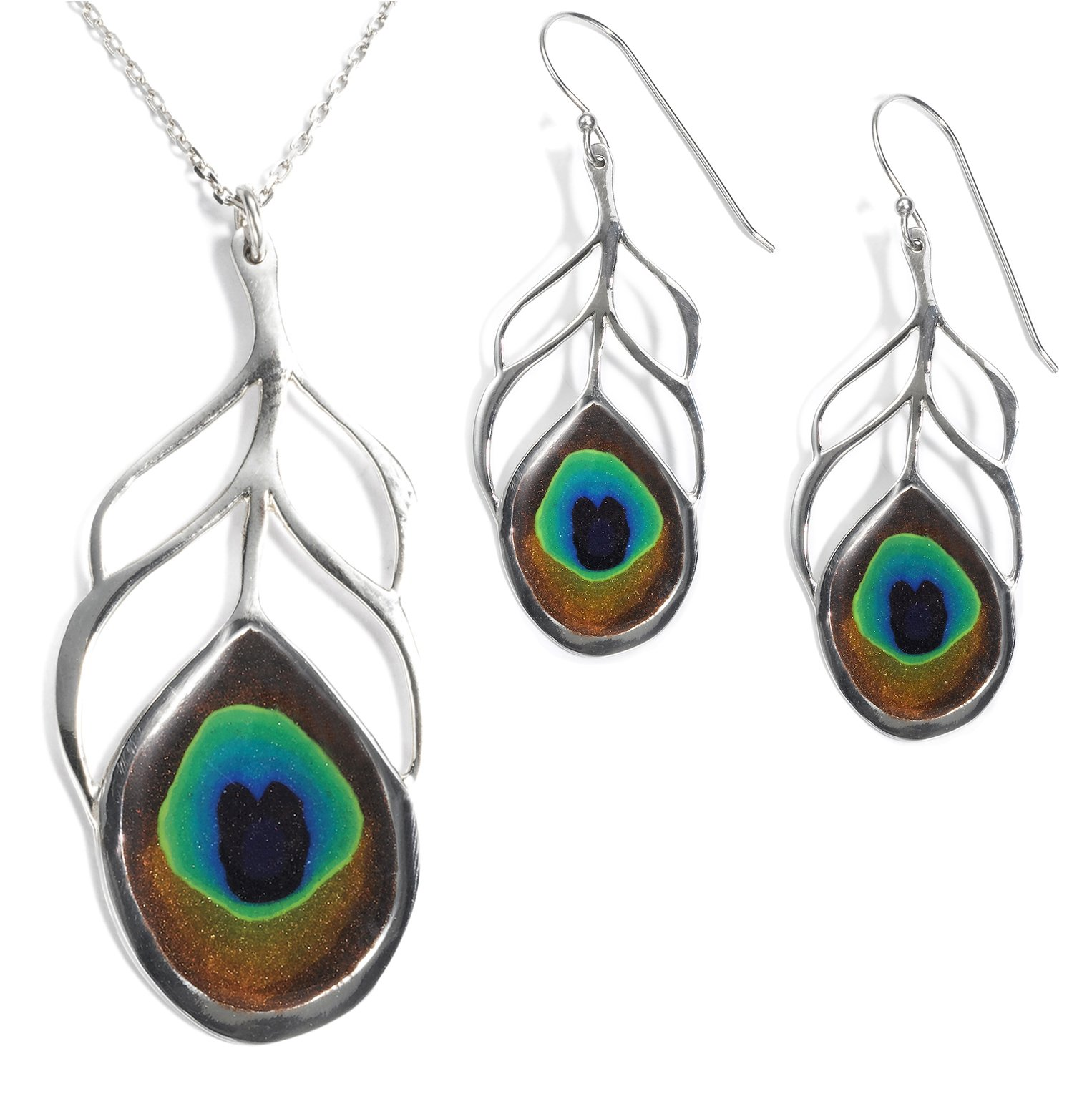 925 Sterling Silver Peacock Feather Necklace Pendant and Drop Earrings Polymer Clay Handmade Jewelry Set, 16.5''