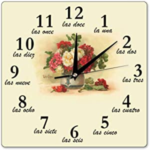 Pealrich 12 Inch Silent Non-Ticking Wall Clock Old-Fashioned Numbers in Spanish Square Clocks Home Office Classroom School Clocks, Easy to Read