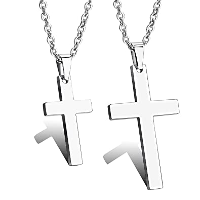1e0b3a74dd378 ZC LI JEWELRY 2pcs Couple Cross Stainless Steel Necklace Set His and ...