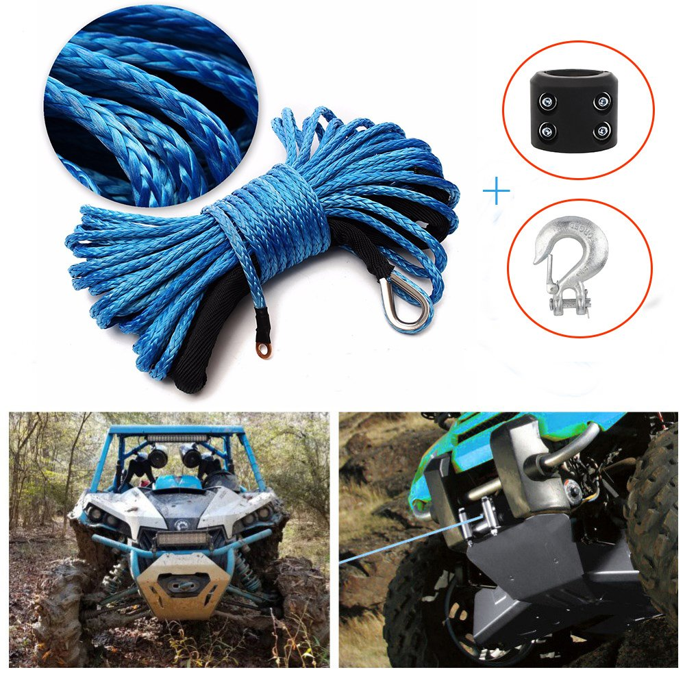 Synthetic Winch Rope 50'x1/4'' Snap Hook and Rubber Stopper Strong Durable Dyneema Cable Blue Winch Rope 7800lbs with Sheath for atvs Winches ATV UTV SUV Truck Boat Ramsey Car Motorcycle Samlighting