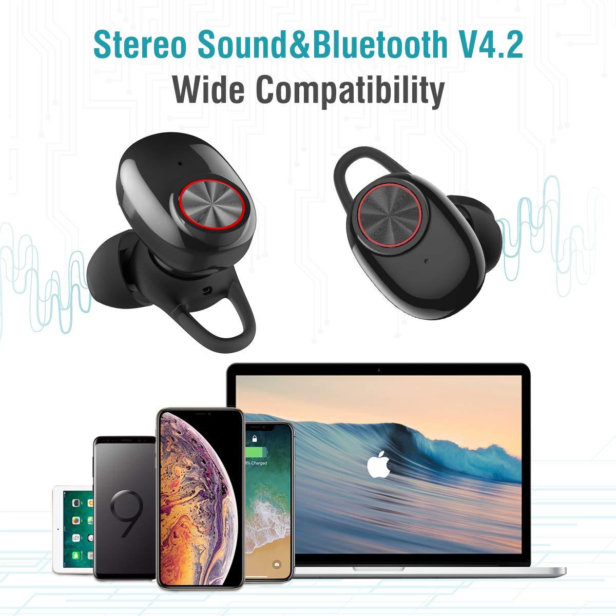 Auriculares Bluetooth Vigorun Mini TWS Headphones Inalámbricos Estéreo Cascos Deportivos Livianos con Caja de Carga de 500 mAh y Micrófono IPX5 Impermeable, ...