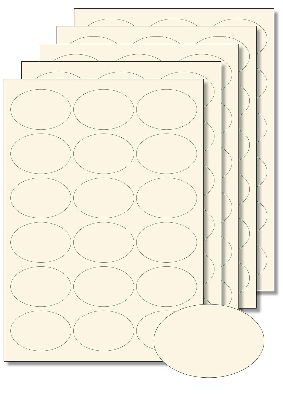 90etichette ovale crema formato A4, per stampa o scrittura, autoadesivo, facili da rimuovere, marmellata bilancio etichette spezie etichette Caro Haushaltswaren