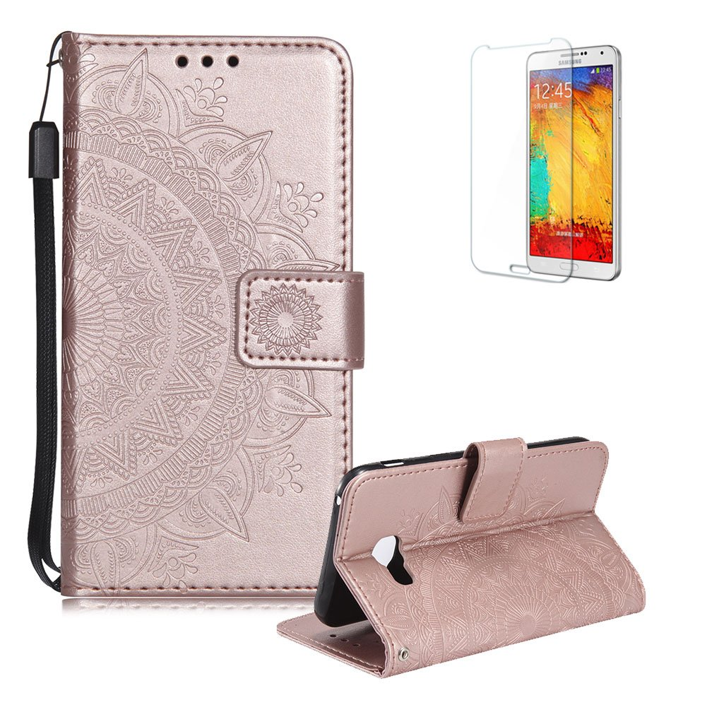Funyye Strap Magnetic Flip Cover for Samsung Galaxy A520/A5 2017, Gold Embossed Half Flower Pattern Luxury PU Leather Wallet with Stand Card Holder Slots Protective Case for Samsung Galaxy A520/A5 2017, All Around Shockproof Ultra Thin Slim Fit Case for Sa