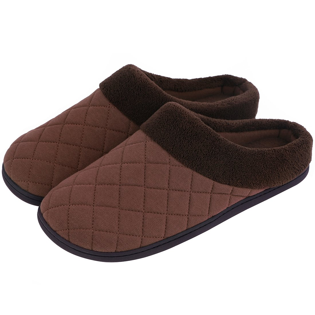 Men's Memory Foam House Slippers Summer Quilted House Shoes for Indoor Outdoor Use (Large/11-12 D(M) US, Coffee)