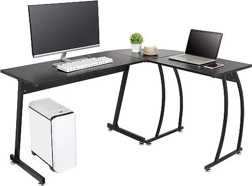 ZenStyle L-Shape Corner Computer Desk Home Office PC Laptop Table Multipurpose Gaming Workstation with Solid Steel Frame Waterproof Desktop
