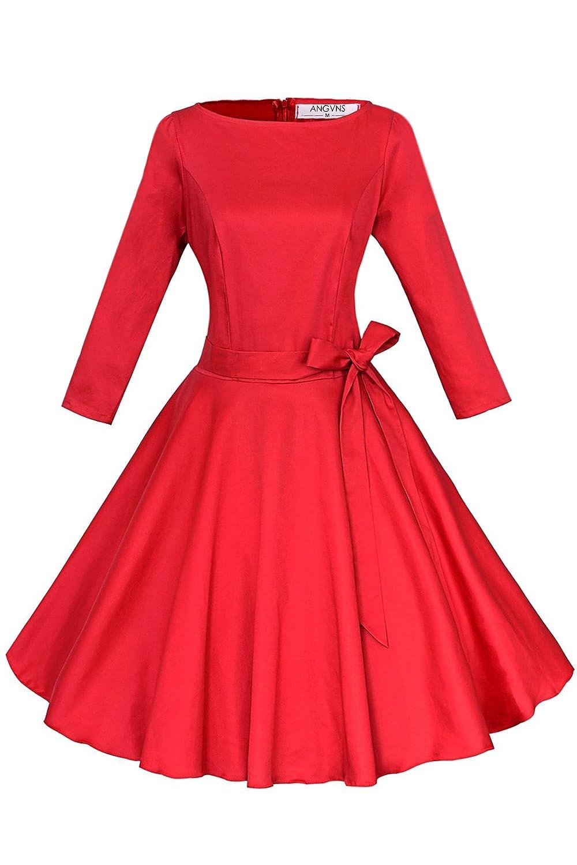 ANGVNS Elegant Damen 1950er Retro Vintage Abendkleider Rundhals 3/4 ...