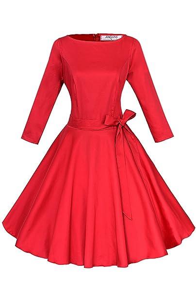ANGVNS Vestido vintage de estilo parisino ladylike años 50 con falda de vuelo y lazo para