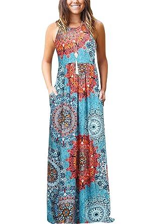1bc250c9c860fb Bequemer Laden Damen Sommer Casual Blumen Ärmellos Lose Plain Lange  Maxikleider mit Taschen Blau S