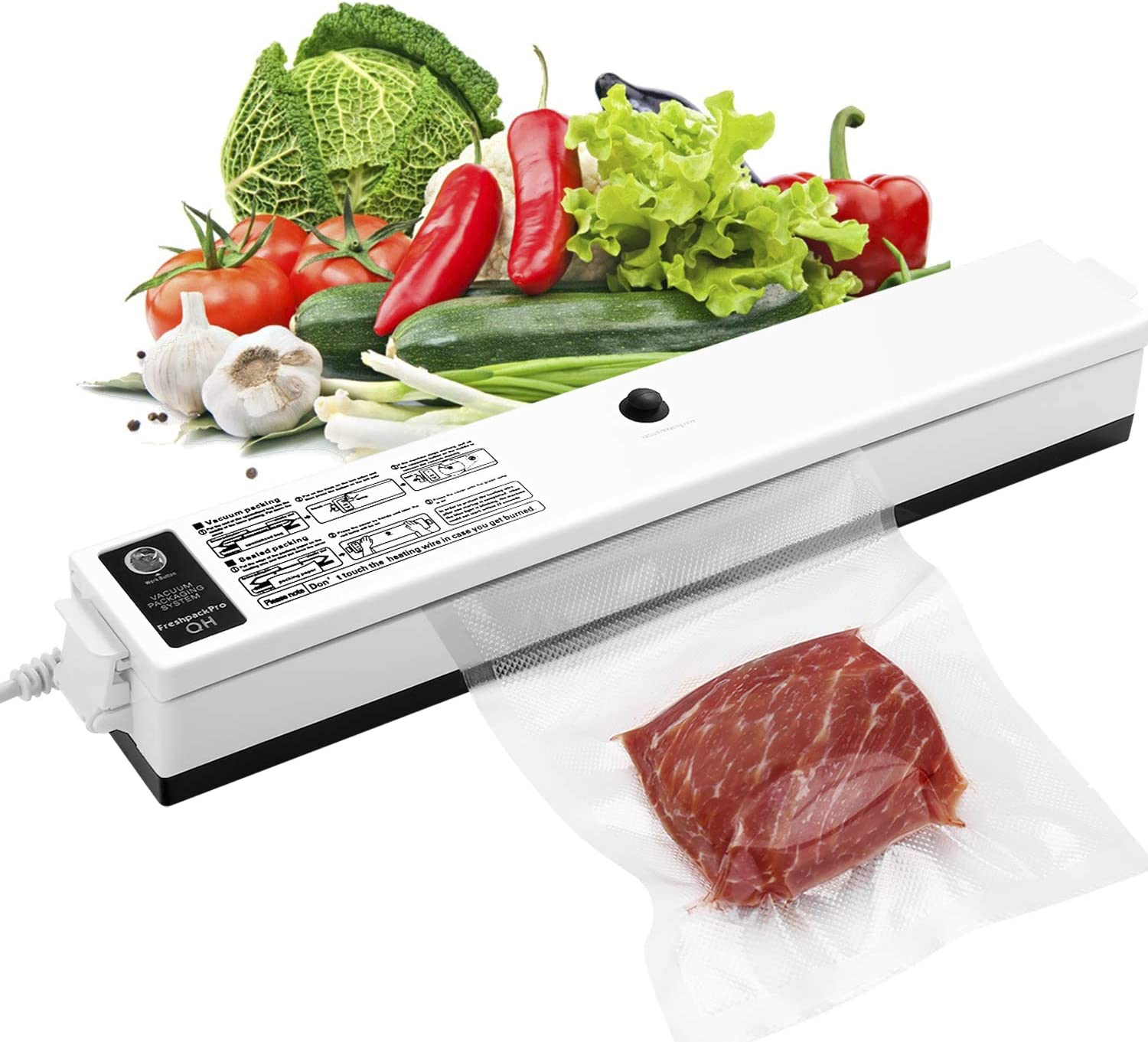 GOSCIEN Vacuum Sealer Machine, Food Sealer Machines Vacuum Food One-button Vacuum Sealing System for Household Commercial Use of Food Preservation with 15 Pcs Vacuum Bags