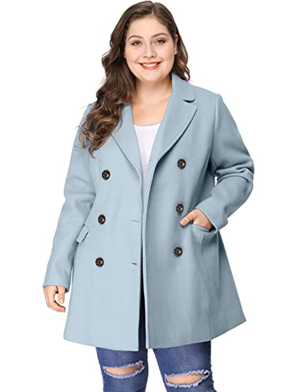 7b337f01553 Agnes Orinda Women s Plus Size Notched Lapel Double Breasted Long Coat 1X  Blue