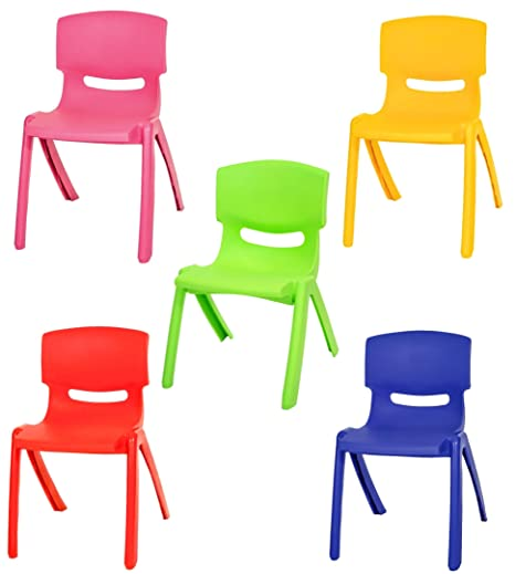 Set Of 5 Colours Stackable Kids Children Plastic Chair Picnic Party Up To  60kg