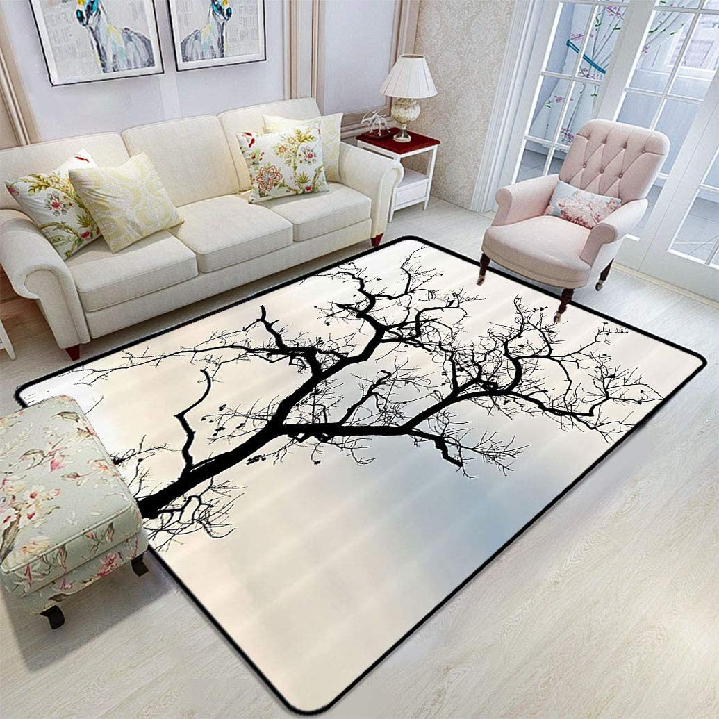 Woodsy Decor Floor Mat A Lonely Tree In Fall Black Branches With Abstract Art Falling Leaves Theme Smooth Rug Floor Mats For Bedroom Living Room 6 6 X 8 Ombre Blue Beige