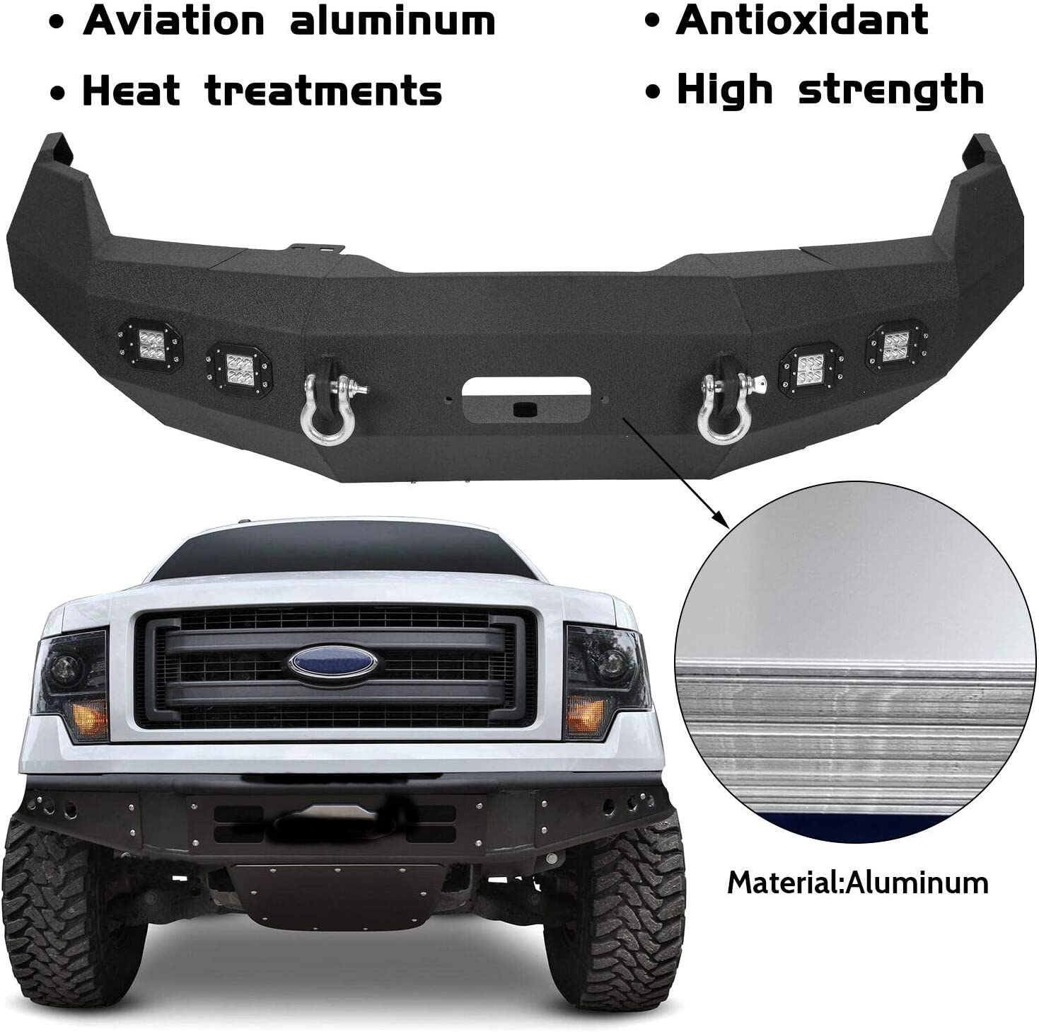 bumper brackets ECOTRIC Front Bumper Steel Black 2 D-Rings Compatible with 2009-2014 Ford F150 4Pcs LED Floodlights Excluding Raptor