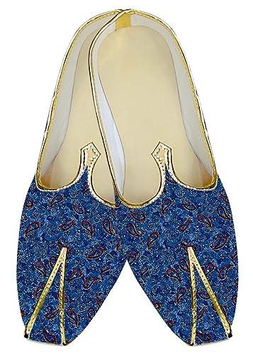 Mens Royal Blue Wedding Shoes Red Paisley MJ013733