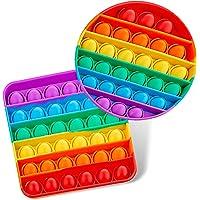 2 Pack Rainbow Pop Fidget Toy, Push Pop Bubble Fidget Sensory Toy for Kids and Adults, Fidget Popper Stress Relief - 2…