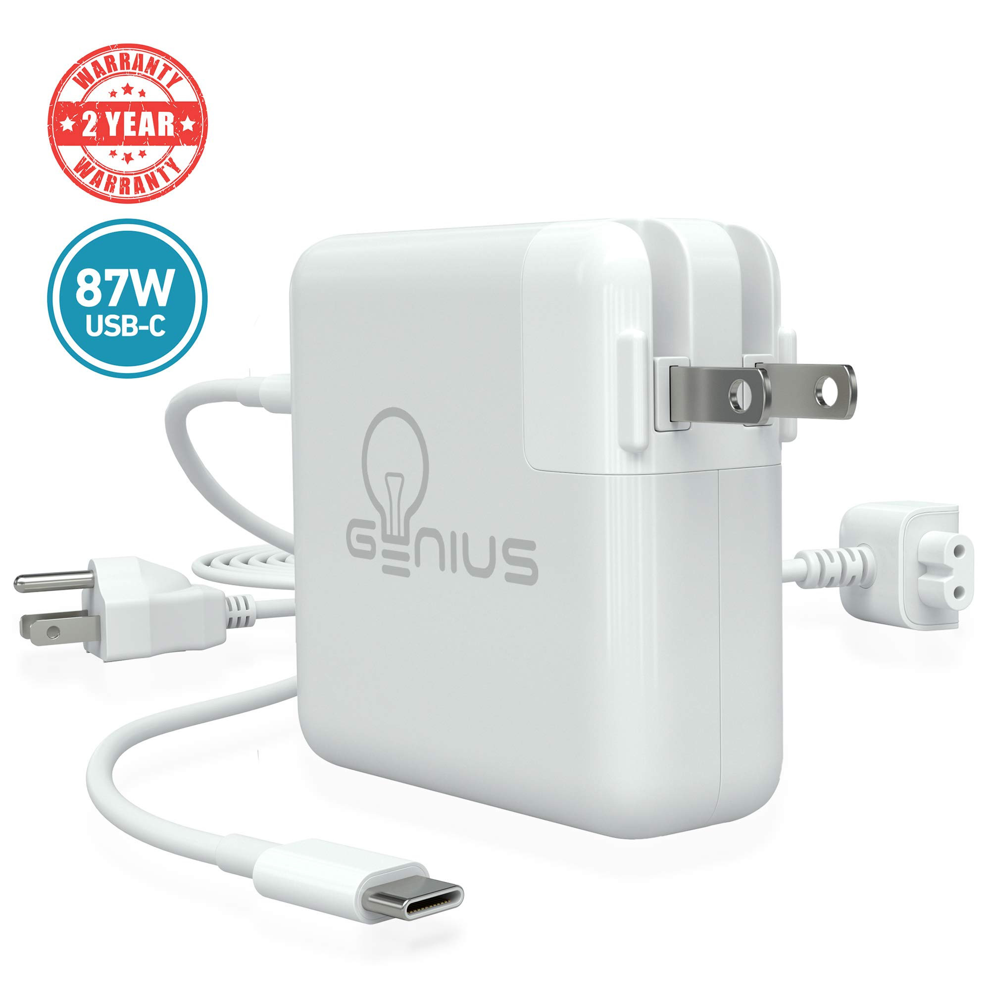 Genius Charger for Apple MacBook Pro 15'' 2016, 2017, 2018 | 87W USB C Power Adapter Laptop, 6.5f Cord + Free 6ft Cable Extension | No Fraying, No Overheating, Cool to The Touch, 2-Year Warranty by That Is Just Genius (Image #1)