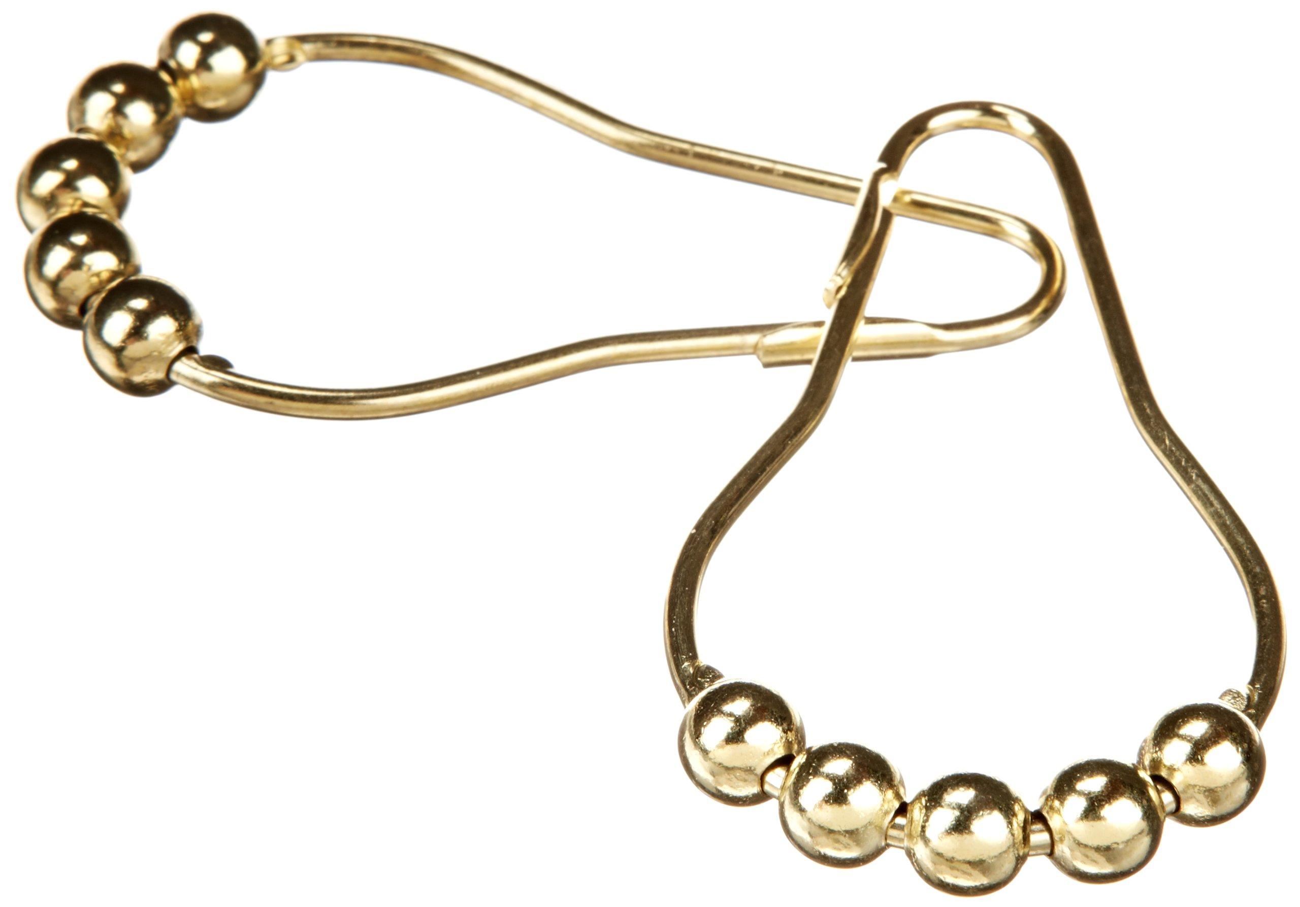 Heavy Duty Roller Shower Curtain Rings, Polished Brass Clipperton RollerRings, Set of 12 by Clipperton Company