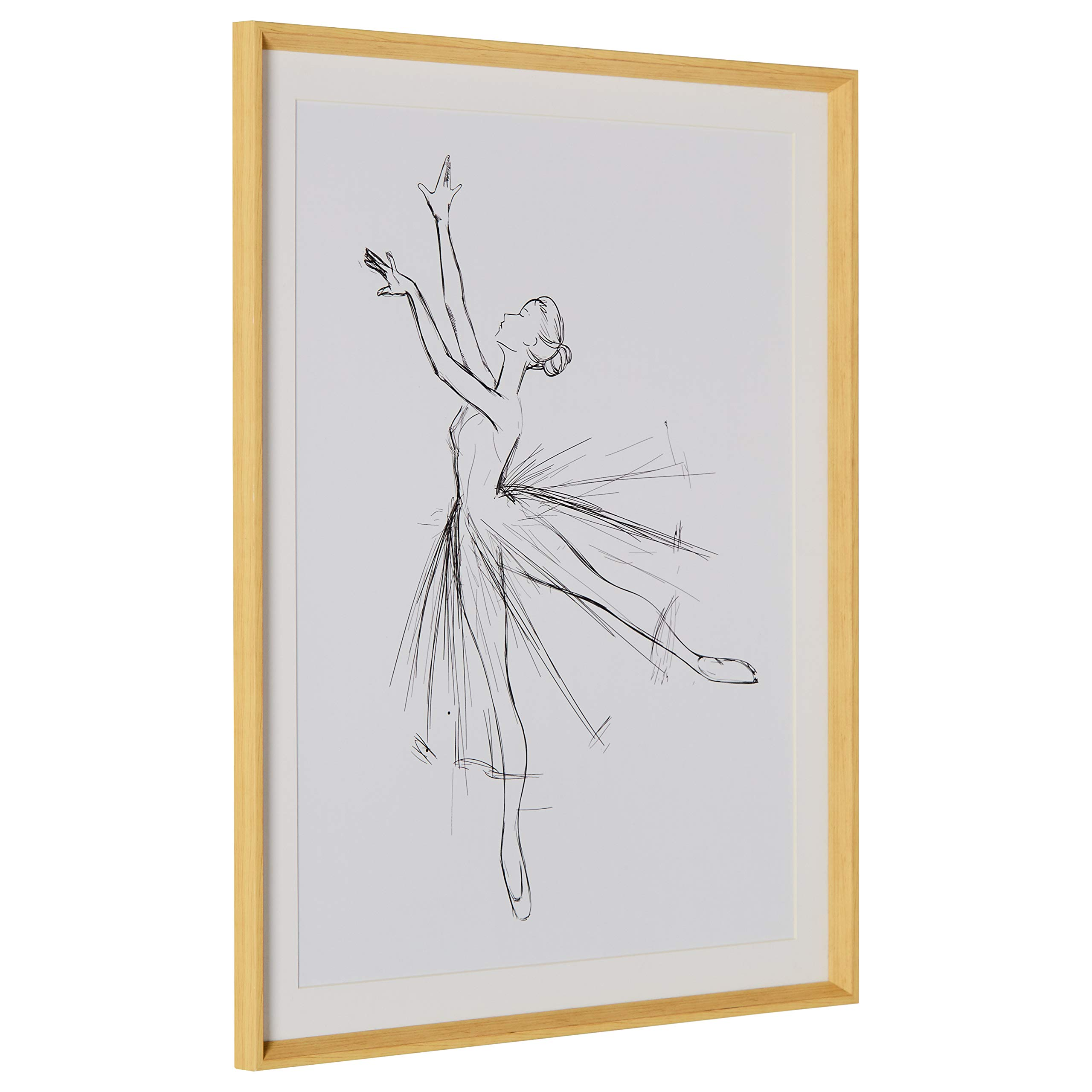 Rivet Modern Sketch of Dancer with Clean White Background, 39.42''H x 31.42''W x 2.27''D including Simple Maple Frame by Rivet (Image #3)