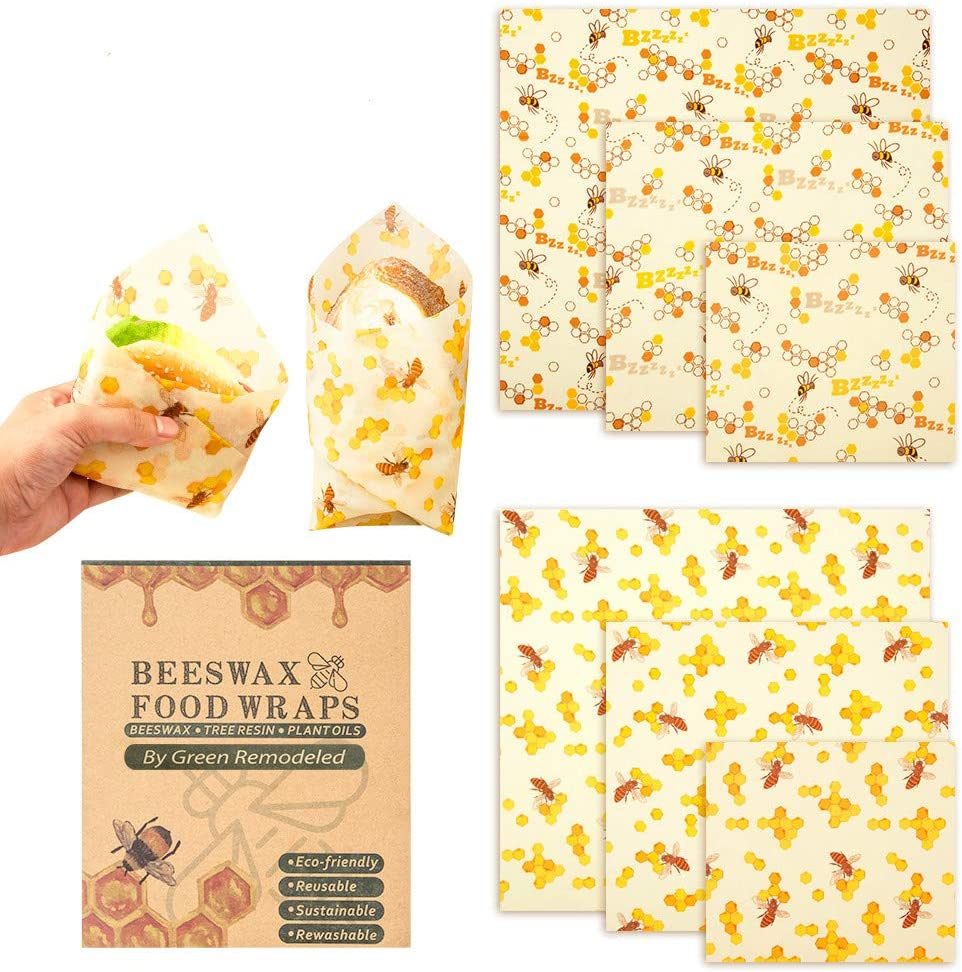 6 Pack Beeswax Reusable Food Wrap by Chasehill | Organic, Sustainable, Eco Friendly, Washable for Storage of Bread & Meals, Sandwich| Food Grade & BPA Free Bees Wax Eco Wraps (multi-color, 6)