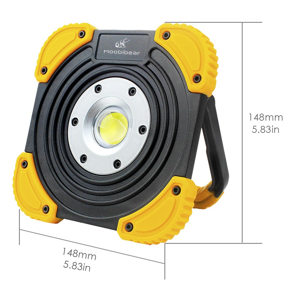 Moobibear BS-FL8W-4AA Work Light Portable Cob LED 10W 1000lm 2 Modes Emergency Battery Powered Cordless Floodlight, Heavy Duty Spotlight for Garage, Camping, Hunting, Fishing