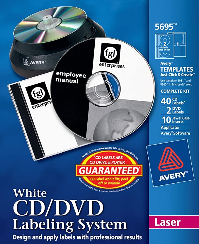 amazon com avery cd dvd labeling system for laser printers white
