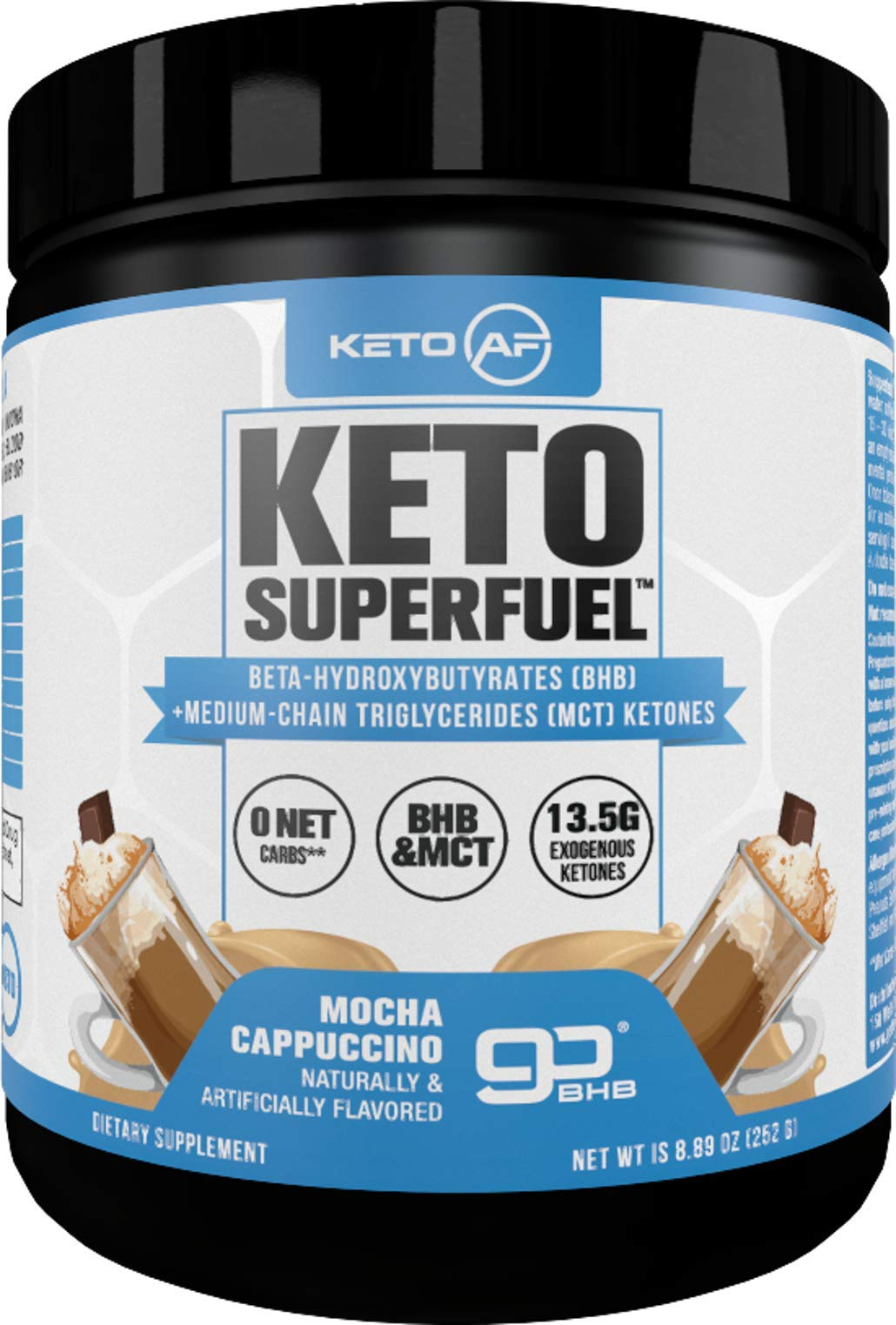 Keto AF Superfuel - Exogenous Ketones. BHB Salts and C8 Triglycerides (MCT Oil). Increase Performance, Get Into Ketosis + Enhance Mental Focus. (Mocha Cappuccino, 15 Servings)