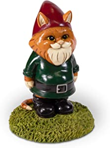 Kwirkworks Funny Garden Gnome - Cat Lawn Statue Figurine