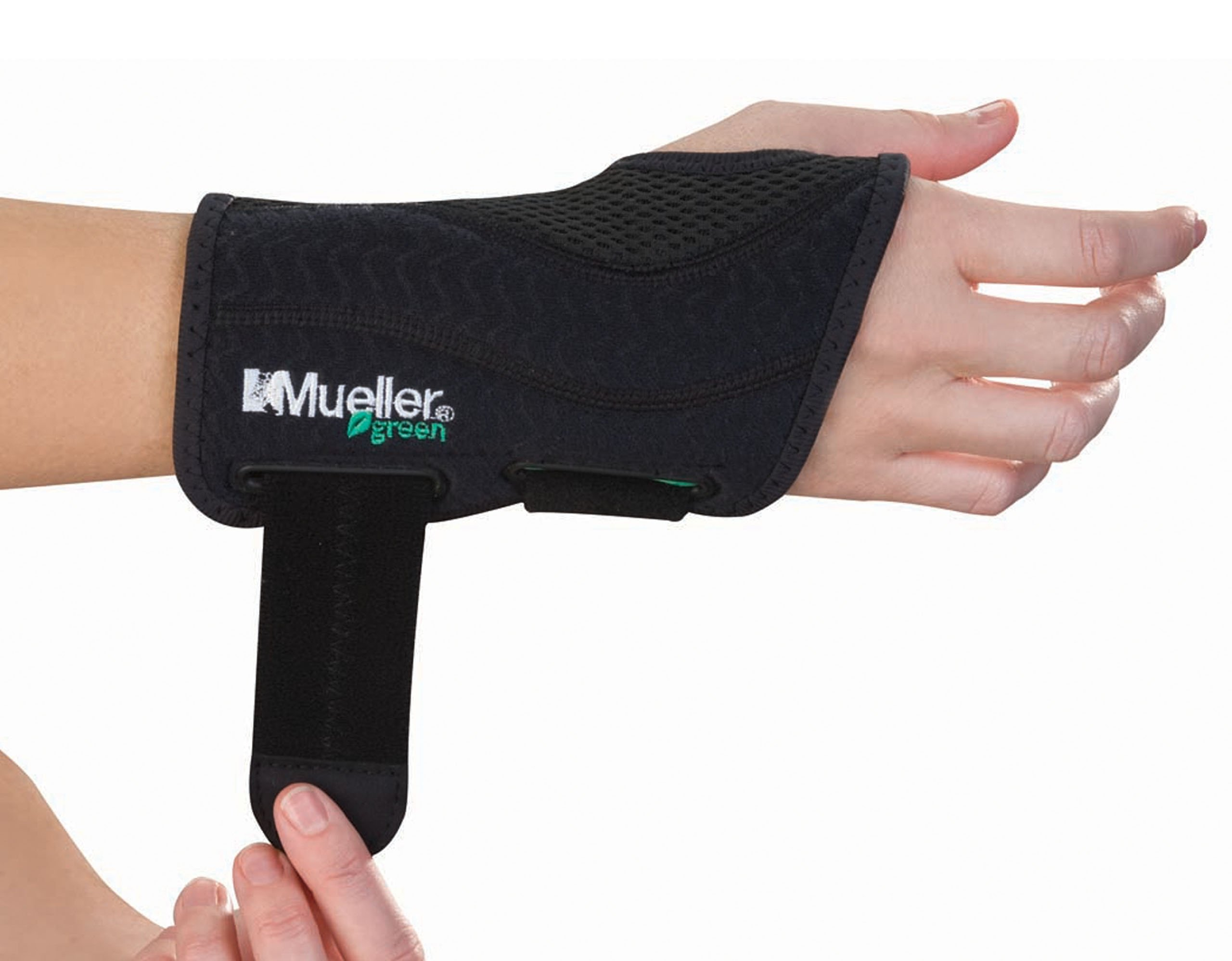 Mueller Green Fitted Wrist Brace, Black, Right Hand, Small/Medium by MUELLER