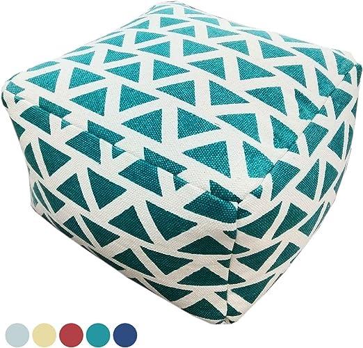 Sitzhocker Sitzwürfel 55x37x55 cm Fußhocker Bodenkissen Design Pouf Kelim Style Maja 5 Farben Farbe türkis caribic