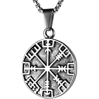 HZMAN Norse Vikings Runes Amulet Pendant Celtic Pagan Stainless Steel Viking Talisman Gift Necklace Jewelry for Men…