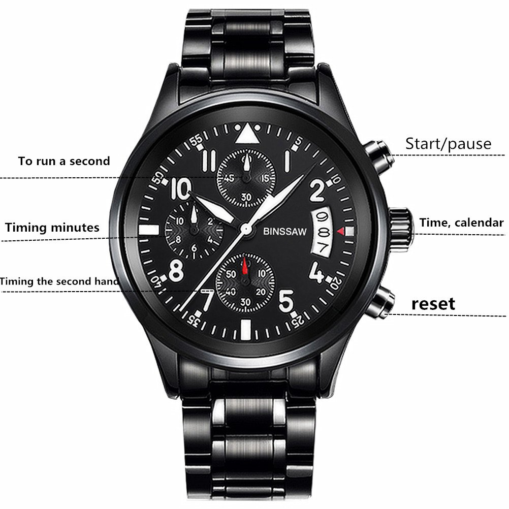 Men Quartz Sports Military Watch Luxury Brand Stainless Steel Calculagraph Luminous 100M Waterproof Watches by BINSSAW (Image #3)