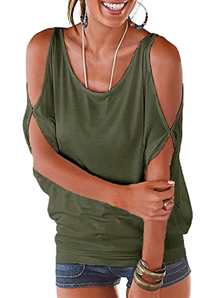 9c777e7223e Army Green Summer T Shirt Women Short Sleeve Cold Shoulder Loose Fit  Pullover Casual Top