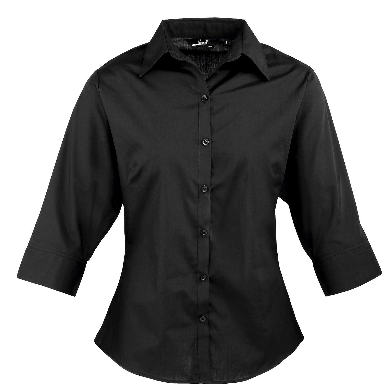Premier - Blusa de mujer, de manga tres cuartos de popelina, lisa, para trabajar
