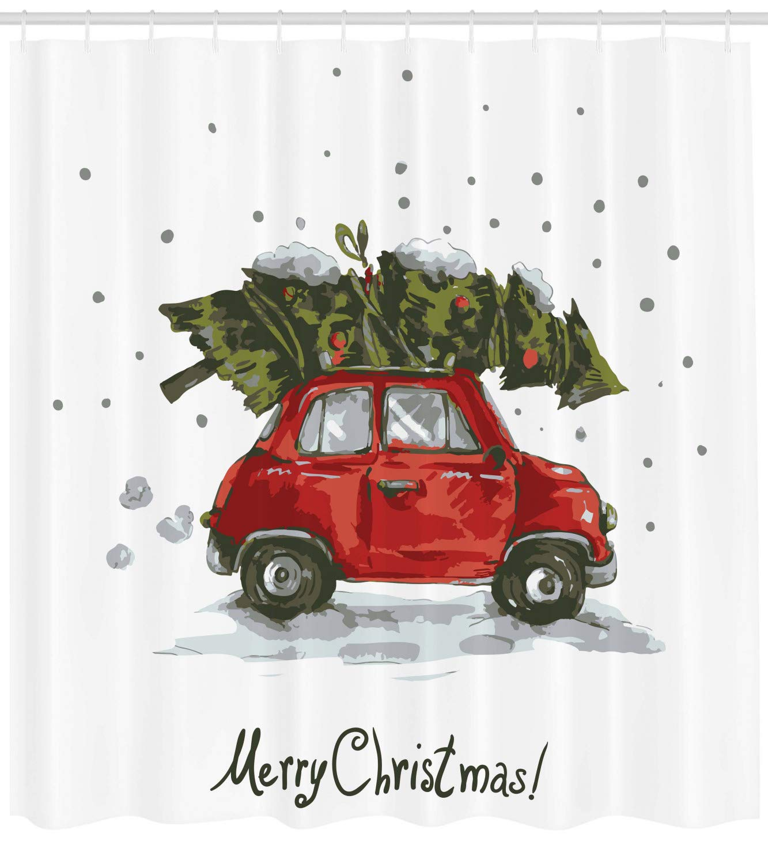 Car Christmas Tree.Ambesonne Christmas Shower Curtain Red Retro Style Car Xmas Tree Vintage Family Style Illustration Snowy Winter Art Cloth Fabric Bathroom Decor Set