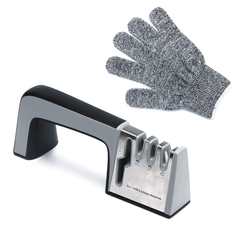 Kitchen Knife Sharpener, Segarty Chef 4 in 1 Knife and Scissor Sharpener Knife Sharpening System Tool with Non-slip Base and Ergonomic Design 1Pcs Cut-resistant Glove