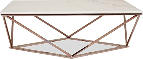 Edloe Finch Modern Marble Coffee Table – Rose Gold Cocktail Tables for Living Room, White
