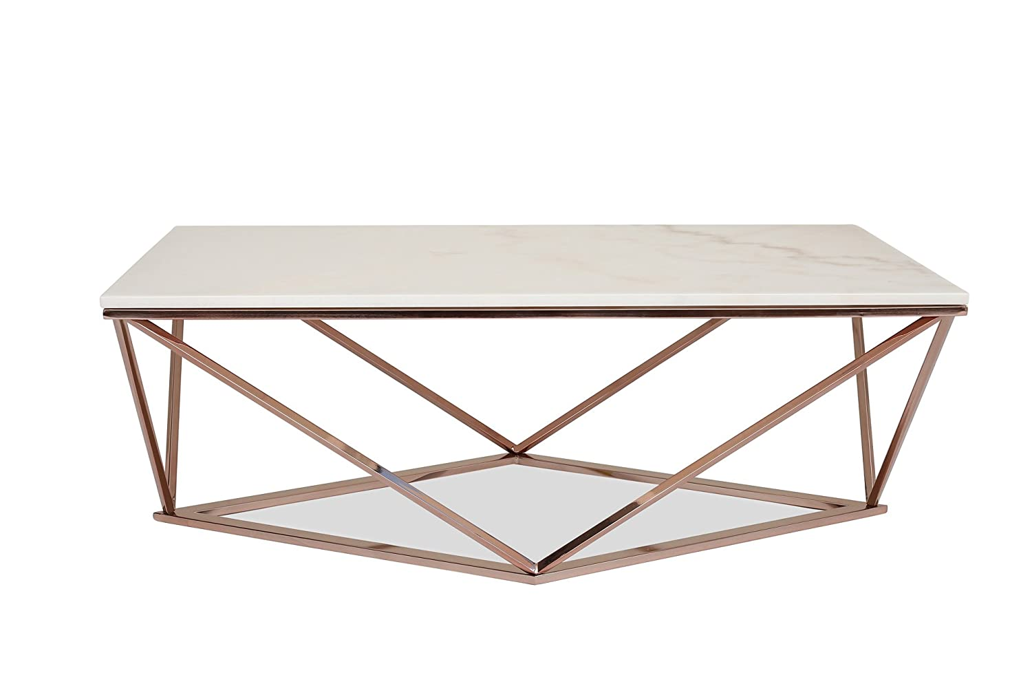 Edloe Finch Modern Marble Coffee Table - Rose Gold Cocktail Tables for Living Room, White