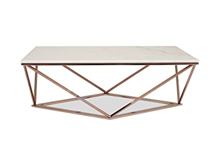 Amazoncom Edloe Finch Modern Marble Coffee Table Rose Gold